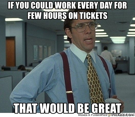 That would be great - if you could work every day for few hours on tickets that would be great