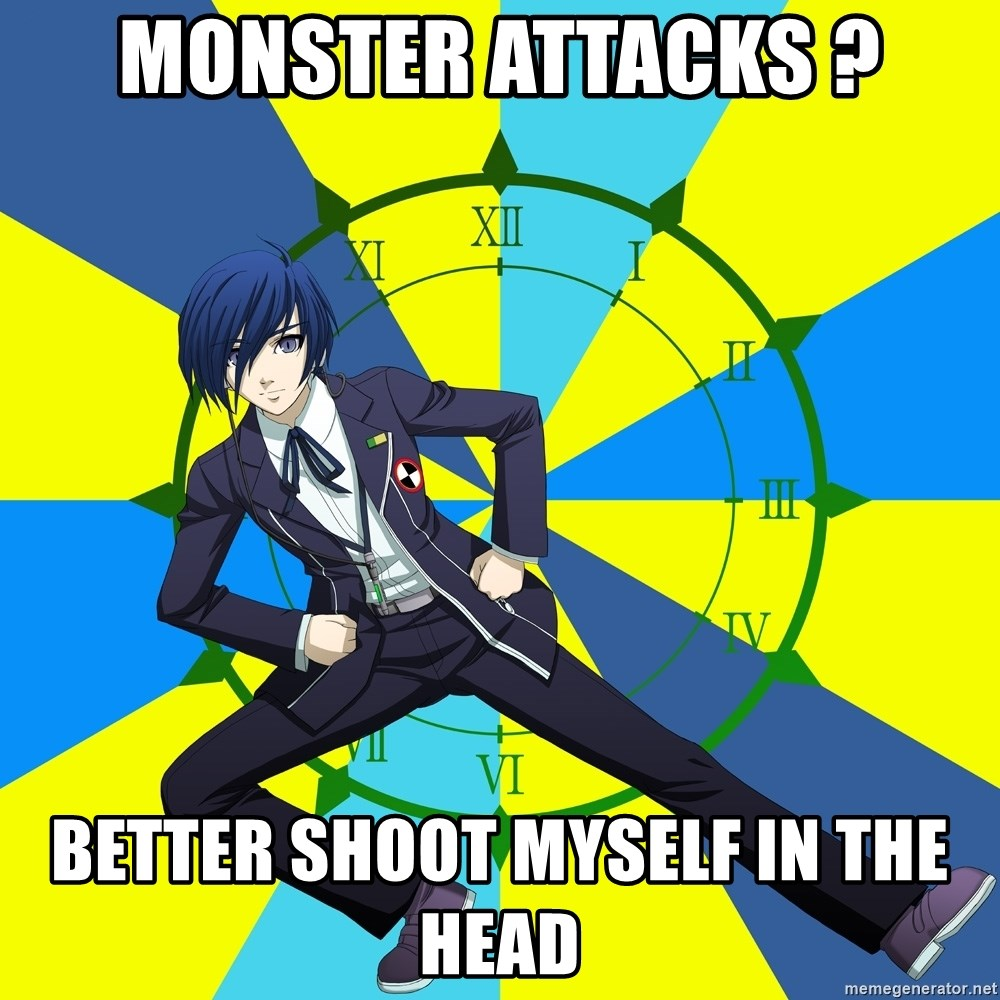 Minato Persona 3 - Monster attacks ? Better shoot myself in the head
