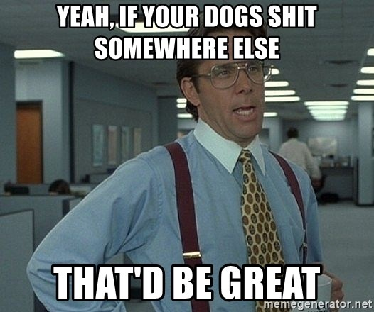 that would be great guy - Yeah, if your dogs shit somewhere else that'd be great