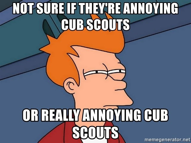 Futurama Fry - not sure if they're annoying cub scouts or really annoying cub scouts