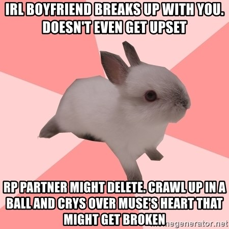 Roleplay Shipper Bunny - IRL Boyfriend breaks up with you. Doesn't even get upset rp partner might delete. Crawl up in a ball and crys over Muse's heart that might get broken