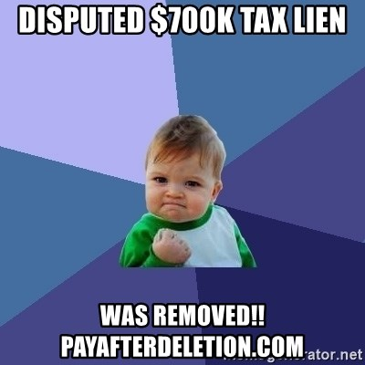Success Kid - disputed $700K tax Lien was removed!! payafterdeletion.com