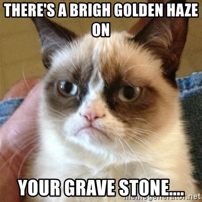 Grumpy Cat  - There's a brigh golden haze on  your grave stone....