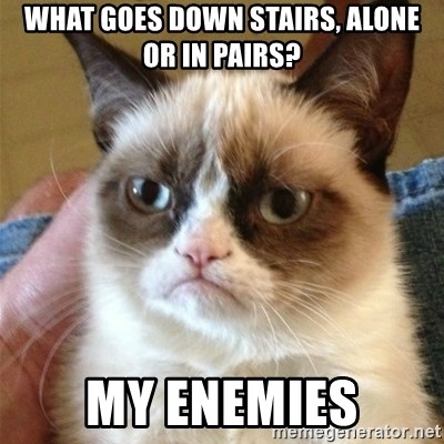 Grumpy Cat  - What goes down stairs, alone or in pairs? My enemies