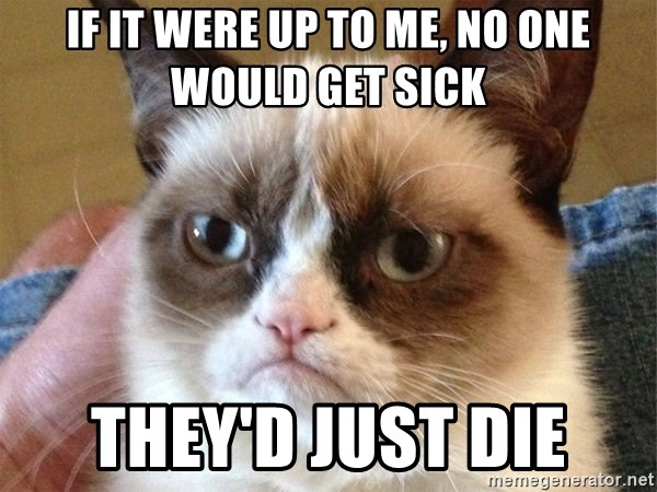 Angry Cat Meme - If it were up to me, no one would get sick They'd just die