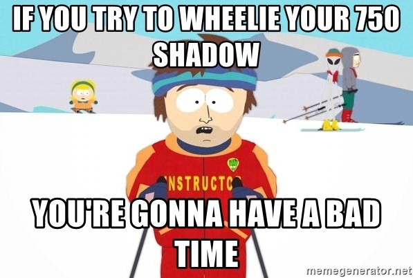 You're gonna have a bad time - If you try to wheelie your 750 shadow you're gonna have a bad time