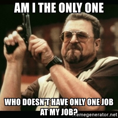 am i the only one around here - AM I THE ONLY ONE WHO DOESN'T HAVE ONLY ONE JOB AT MY JOB?