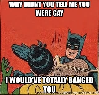 batman slap robin - Why didnt you tell me you were gay i would've totally banged you
