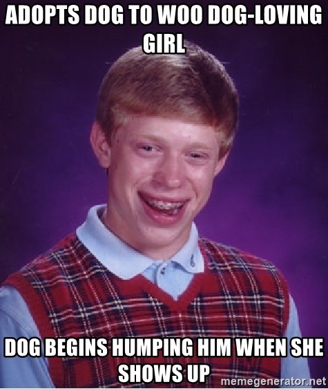 Bad Luck Brian - ADOPTS DOG TO WOO DOG-LOVING GIRL DOG BEGINS HUMPING HIM WHEN SHE SHOWS UP