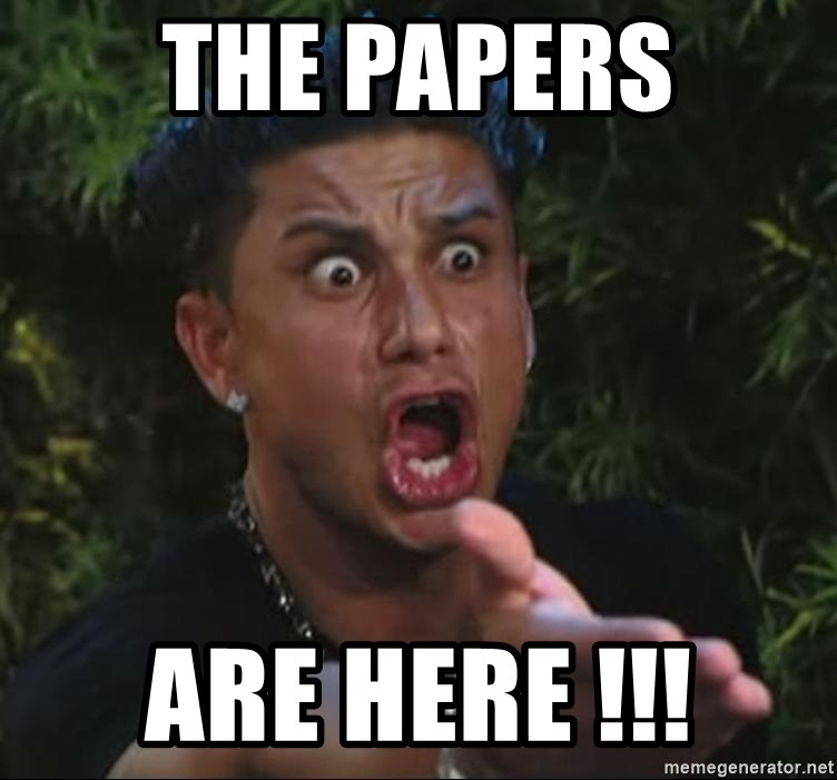 Pauly D - the papers are here !!!