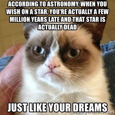 Grumpy Cat  - ACCORDING to astronomy, when you wish on a star, You're actually a few million years late and that star is actually dead just like your dreams