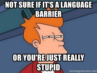 Fry squint - Not sure if it's a language barrier  Or you're just Really stupid