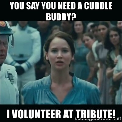 I volunteer as tribute Katniss - You say you need a cuddle buddy? I volunteer at tribute!