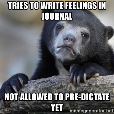 Confession Bear - Tries to write feelings in journal Not alloWed to pre-dictate yet