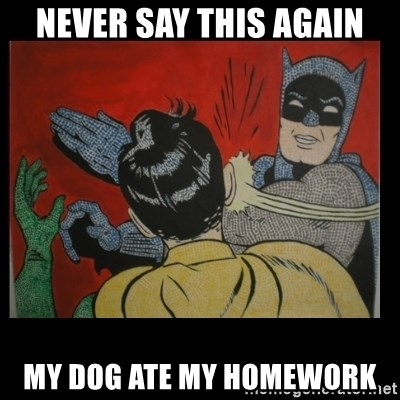 Batman Slappp - never say this again my dog ate my homework