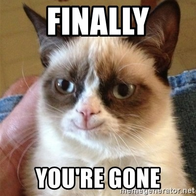 Grumpy Cat Smile - FINALLY YOU'RE GONE