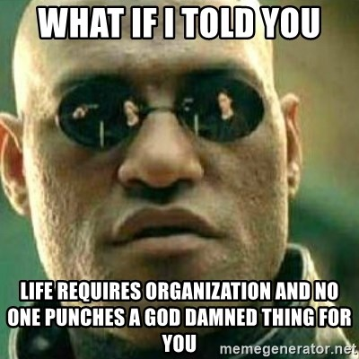 What If I Told You - what if i told you life requires organization and no one punches a god damned thing for you