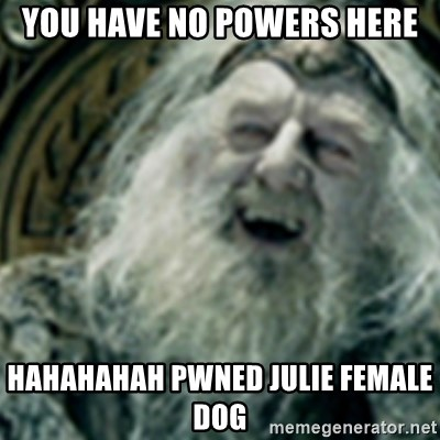 you have no power here - YOU HAVE NO POWERS HERE HAHAHAHAH PWNED JULIE FEMALE DOG