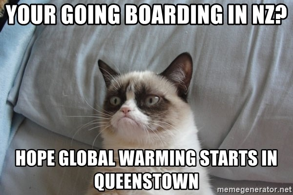 Grumpy cat good - your going boarding in nz? Hope global warming starts in queenstown