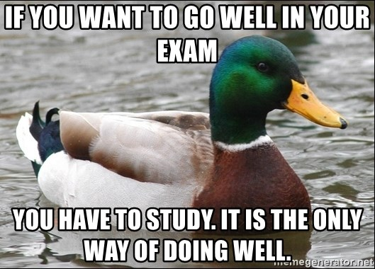 Actual Advice Mallard 1 - IF YOU WANT TO GO WELL IN YOUR EXAM YOU HAVE TO STUDY. IT IS THE ONLY WAY OF DOING WELL.