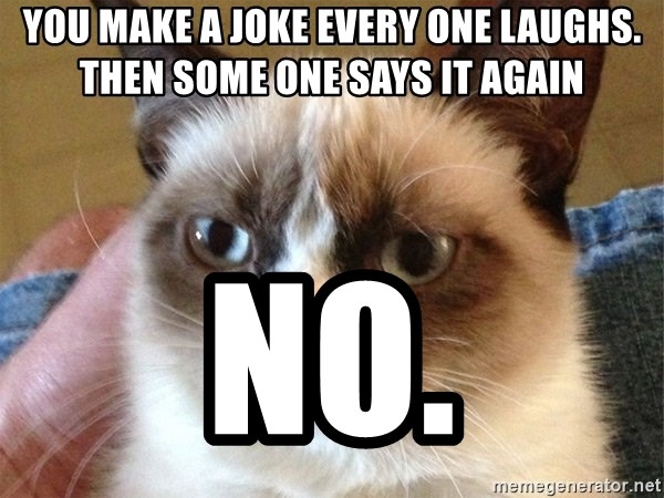 Angry Cat Meme - YOU MAKE A JOKE EVERY ONE LAUGHS. THEN SOME ONE SAYS IT AGAIN NO.