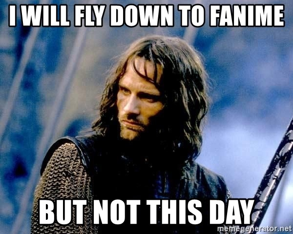 Not this day Aragorn - I will fly down to fanime but not this day