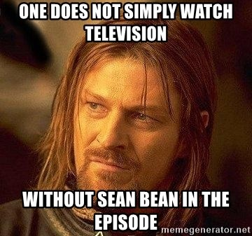 Boromir - One does not simply watch television Without sean bean in the episode