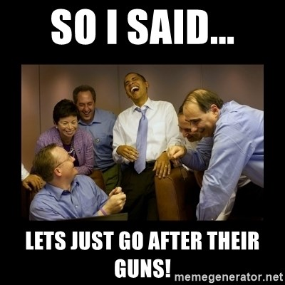 And then we told them... - SO I SAID... LETS JUST GO AFTER THEIR GUNS!