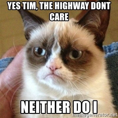 Grumpy Cat  - yes tim, the highway dont care Neither do i