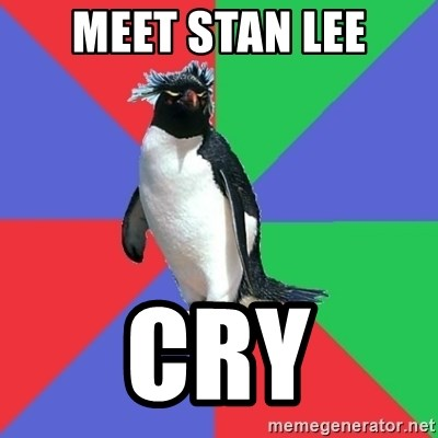 Comic Book Addict Penguin - Meet Stan Lee Cry