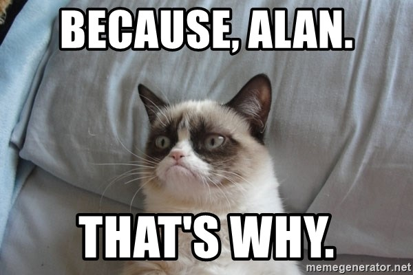 Grumpy cat good - Because, Alan. That's why.
