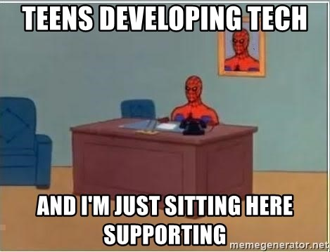 Spiderman Desk - teens developing tech and I'm just sitting here supporting