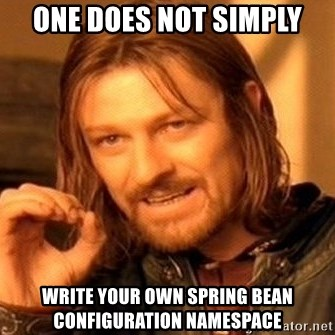 One Does Not Simply - One does not Simply Write your own spring bean configuration namespace