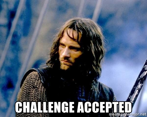 Not this day Aragorn -  Challenge Accepted