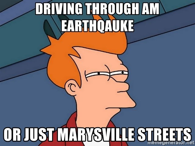 Futurama Fry - driving through am earthqauke Or just marysville streets