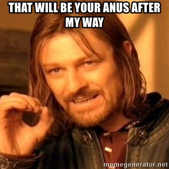 One Does Not Simply - that will be your anus after my way