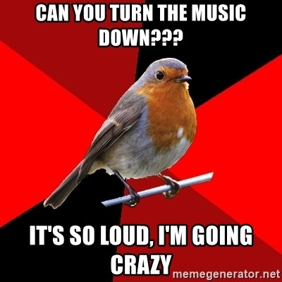 Retail Robin - can you turn the music down??? IT'S SO LOUD, I'M GOING CRAZY