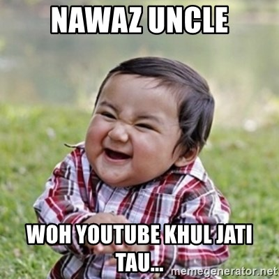evil toddler kid2 - Nawaz Uncle Woh Youtube khul jati tau...