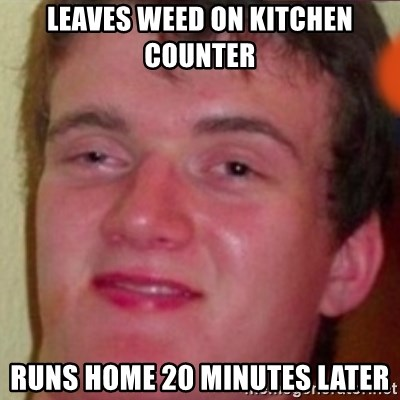 highguy - LEAVES WEED ON KITCHEN COUNTER RUNS HOME 20 MINUTES LATER