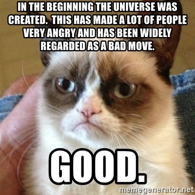 Grumpy Cat  - In the beginning the universe was created.  this has made a lot of people very angry and has been widely regarded as a bad move. good.