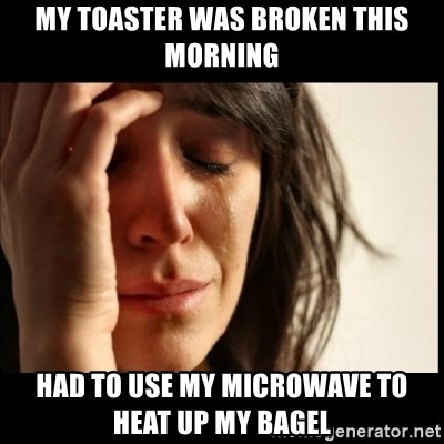 First World Problems - My toaster was broken this morning had to use my microwave to heat up my bagel