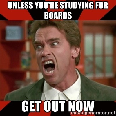 Arnold Schwarzenegger 1 - unless you're studying for boards get out now
