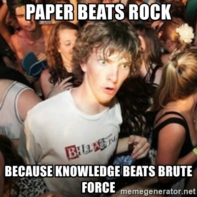 Sudden clarity clarence - Paper beats rock because knowledge beats brute force