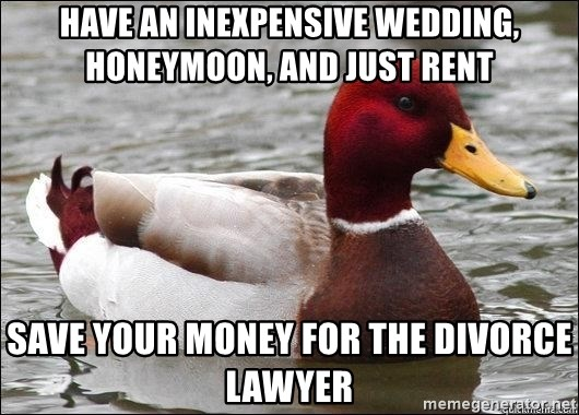 Malicious advice mallard - Have an inexpensive Wedding, HoneyMoon, and just rent Save your money for the Divorce Lawyer