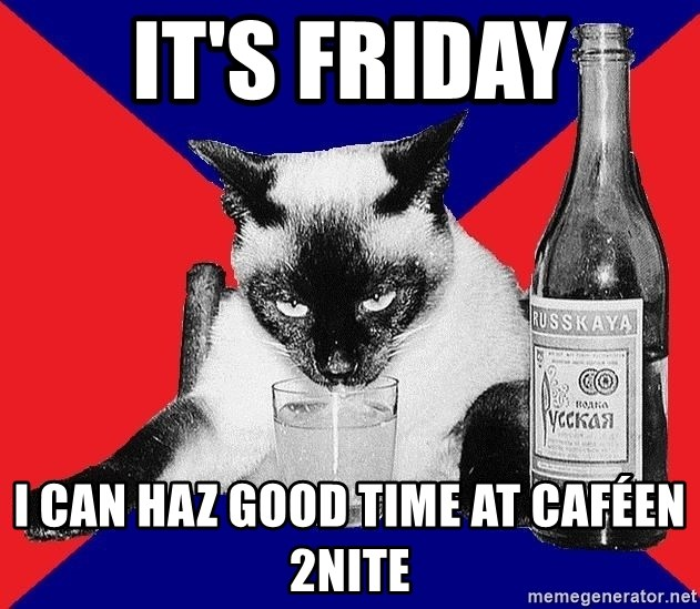 Alco-cat - it's friday i can haz good time at caféen 2nite