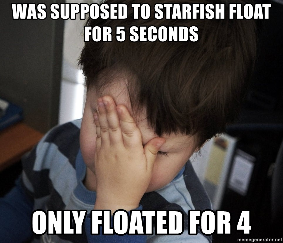 Confession Kid - was supposed to starfish float for 5 seconds only floated for 4