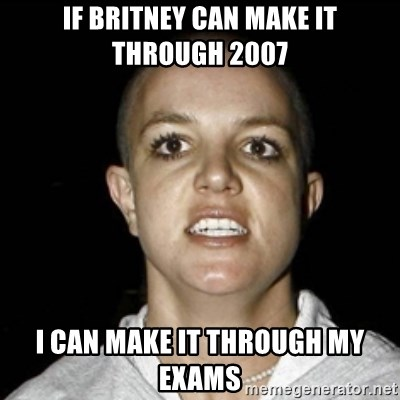 Bald Britney Spears - if britney can make it through 2007 i can make it through my exams