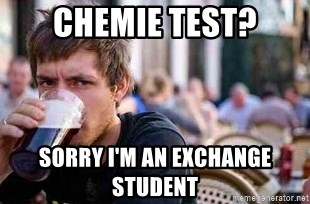 38473171 chemie test? sorry i'm an exchange student the lazy college,Lazy College Student Meme Generator