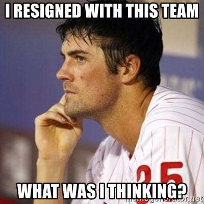 Thinking Hamels - I resigned with this team What was I thinking?