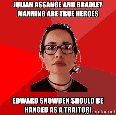 Liberal Douche Garofalo - julian assange and bradley manning are true heroes edward snowden should be hanged as a traitor!